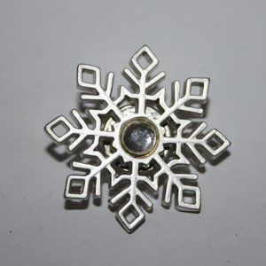 Silver and rhinestone brooch pin